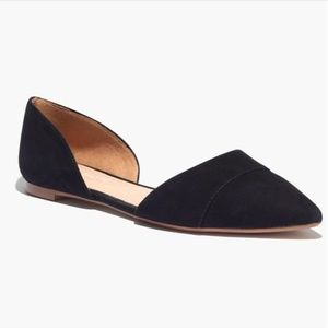 Madewell The D'orsay Flat in Suede Black Size 5.5